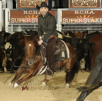 Steven Feiner on Button Down Supercat led the go-rounds for the Non-Pro Super Stakes Classic. Hart Photography.