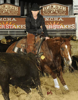 Stacie McDavid and Dmac Wise Guy led the first round of the Non-Pro Super Stakes. Hart Photography.